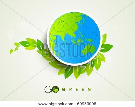 Stylish sticker, tag or label design with globe and green leaves on grey background.