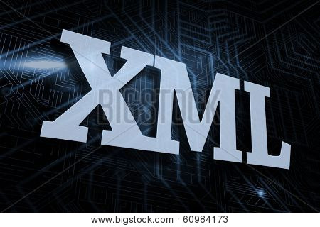 The word xml against futuristic black and blue background