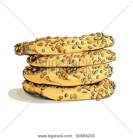 Drawn cookies on white background