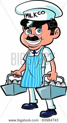 Cartoon Milkman delivering milk.