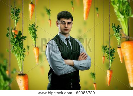 Businessman and carrots