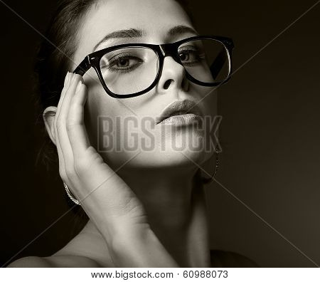 Sexy Woman In Glasses Looking Hot. Black And White Portrait