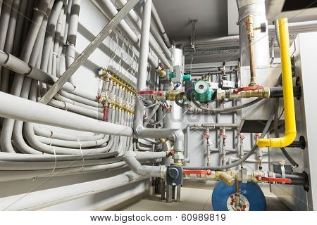 Pipes of the boiler room