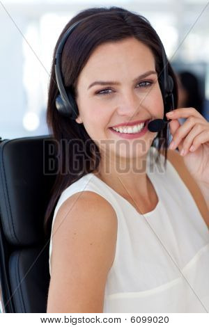 Beautiful Businesswoman In A Call Centre