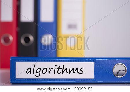 The word algorithms on blue business binder