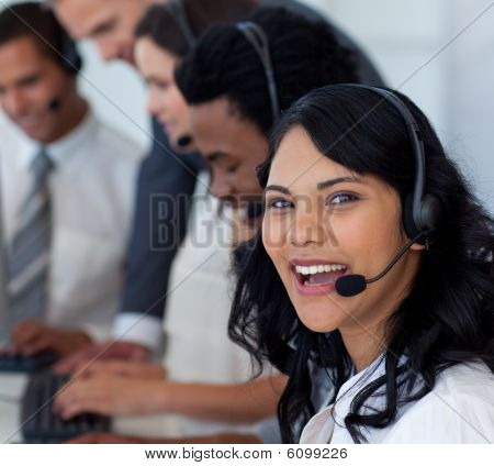 Portrait Of A Smiling Businesswoman In A Call Center