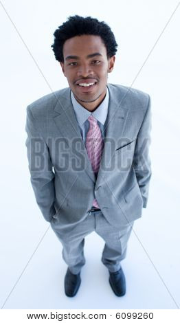 High Angle Of Businessman With Hands In His Pockets