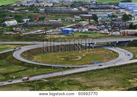 Top View Of Roundabout Intersection, Ring Road Around St. Petersburg.