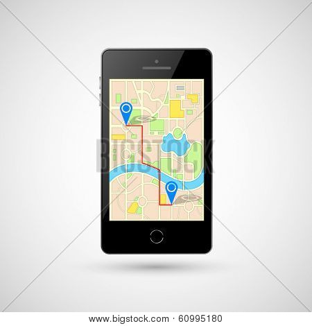 illustration of GPS in mobile phone showing route map