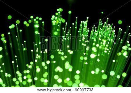 fiber optics close-up, focal point on distant fibres