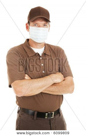 Delivery Man Wearing Flu Mask