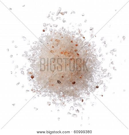 Himalayan Pink Salt Pile Isolated On White Top View