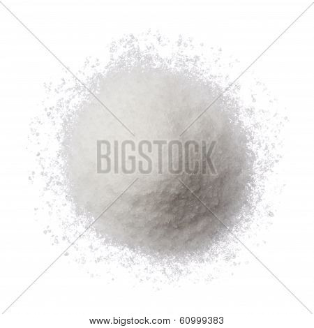 Sea Salt Pile Isolated On White Top View
