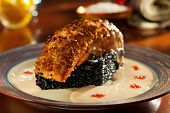 image of crisps  - Crisp Salmon Steak with Black Risotto and Cream Sauce - JPG