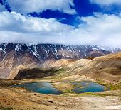 stock photo of himachal  - Mountain lakes in Spiti Valley in Himalayas - JPG