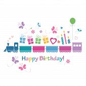 pic of train-wheel  - cute happy birthday train bringing present hearts balloons and butterflies greeting card illustration on white background - JPG