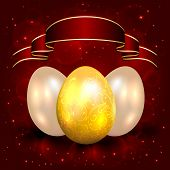 Decorative Easter eggs on red background