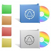 Recycle symbol. Box with compact disc. Raster illustration.