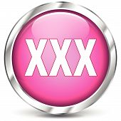 stock photo of pornographic  - vector illustration of pink chrome x icon on white background - JPG
