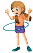 image of hulahoop  - Illustration of a pretty teenager playing with the hulahoop on a white background - JPG