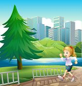 Illustration of a girl running at the riverbank with a tall pine tree