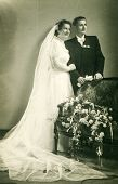 LODZ, POLAND,OCTOBER 9, 1954 - Vintage photo of newlyweds