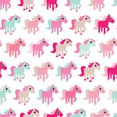 foto of pony  - Seamless pink horse girls pony illustration background pattern in vector - JPG
