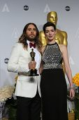 LOS ANGELES - MAR 2:: Jared Leto, Anne Hathaway  in the press room at the 86th Annual Academy Awards