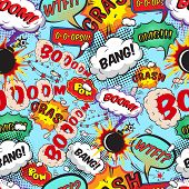 stock photo of bomb  - Seamless pattern comic speech bubbles vector illustration - JPG