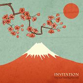 pic of sakura  - Blossom cherry or sakura mountain invitation postcard vector illustration - JPG