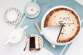 stock photo of sponge-cake  - Afternoon tea and cake - JPG