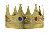 stock photo of crown jewels  - Gold Crown With Jewels Isoalted on White Background - JPG