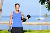 stock photo of biceps  - Fitness bicep curl  - JPG
