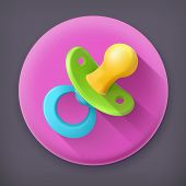 stock photo of pacifier  - Pacifier long shadow vector icon - JPG