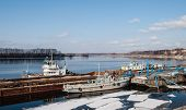 pic of uglich  - Spring on the Volga River port of the ancient Russian town of Uglich - JPG