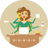 stock photo of personal assistant  - Personal assistant or hard working secretary symbol vector illustration - JPG