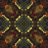 art nouveau ornamental vintage pattern in yellow, green, black and brown colors