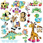 foto of baby frog  - set with animals toys for babies and little kids - JPG