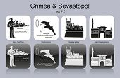 Landmarks of Crimea & Sevastopol. Set of monochrome icons. Editable vector illustration.