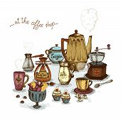picture of coffee grounds  - Coffee shop still life set vector illustration - JPG
