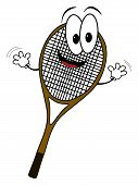 Happy Cartoon Tennis Rack Character