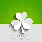 Happy St. Patrick's Day celebrations concept with beautiful Irish lucky shamrock leaf on green and g