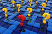 pic of question-mark  - Group of question signs within labyrinth made from metal blocks - JPG