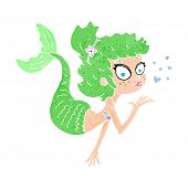 cartoon pretty mermaid