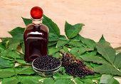 picture of elderberry  - Liqueur wine with healthy elderberry fruit juice - JPG