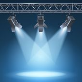 picture of stage theater  - Blank stage with bright lights vector illustration - JPG