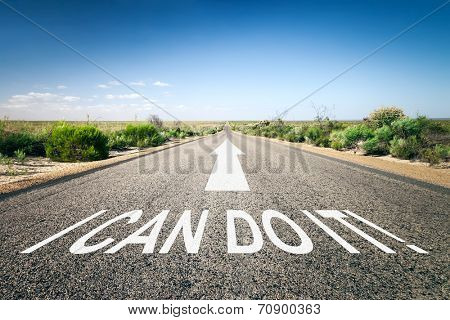 An image of a road to the horizon with text I can do it