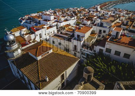 townscape, view from the castle Penyiscola, the city with the beach and sea, spain