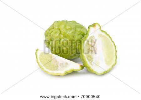 Kaffir Lime Isolated On White Background.