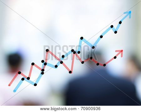 Growth Bar Chart With Blurred Business People Background